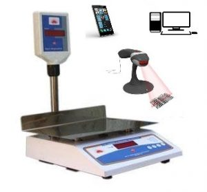 Weighing scale with barcode scanner connectivity